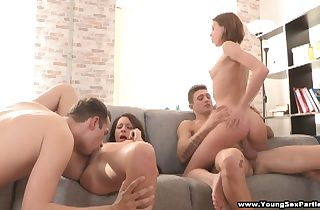 Teen gals sharing stiff dicks